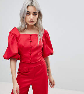 Fashion Union Petite Button Front Crop Top Two-Piece