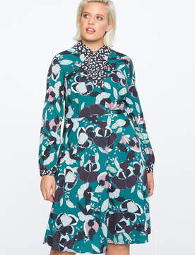 ELOQUII Mixed Print Fit and Flare Dress