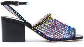 Christopher Kane Suede-Trimmed Bead-Embellished Mesh Sandals