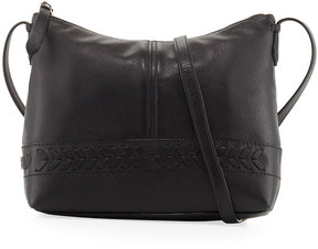 Cole Haan Lacey Herringbone-Woven Trim Leather Crossbody Bag, Black