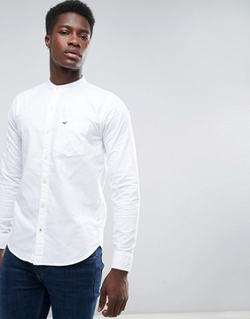 Hollister Oxford Shirt Banded Collar Slim Fit in White