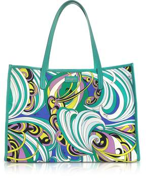 Emilio Pucci Turquoise and Mint Green Fabric Tote Bag