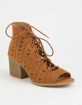 Qupid Laser Cut Cognac Womens Lace Up Booties