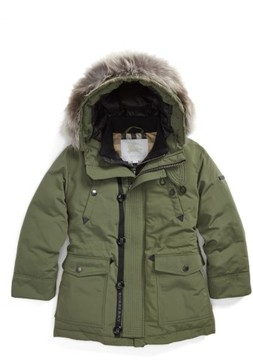 Burberry Boy's Elliott Genuine Fox Fur Down Jacket