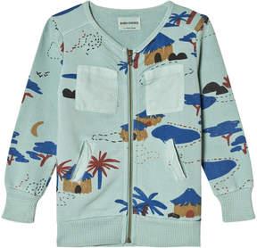 Bobo Choses Beryl Green Gombe Zipped Sweatshirt