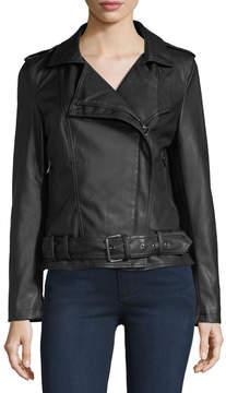 Bagatelle Belted Faux-Leather Biker Jacket