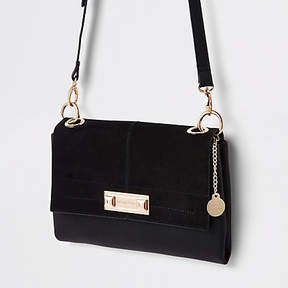 River Island Black front lock cross body bag