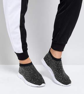 Asos DUSK Wide Fit Embellished Sock Sneakers