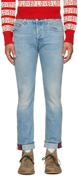 Gucci Blue Tapered Web Jeans