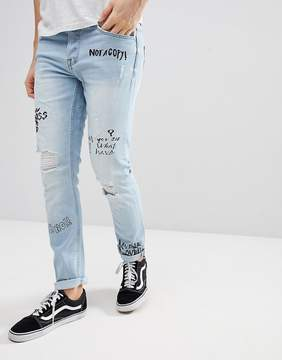 ONLY & SONS Slim Jeans With All Over Print