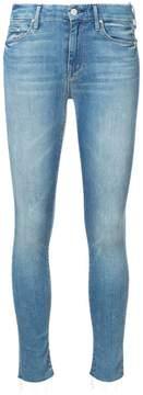 Mother skinny raw hem jeans