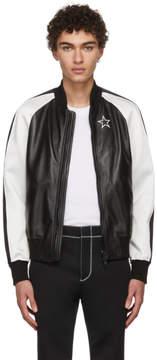 Givenchy Black and White Leather Bomber Jacket