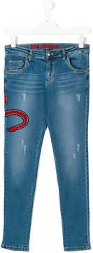 John Richmond Kids Teen snake embroidered jeans