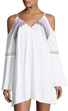 LaBlanca La Blanca Spice Market V-Neck Cold-Shoulder Tunic Coverup, Plus Size