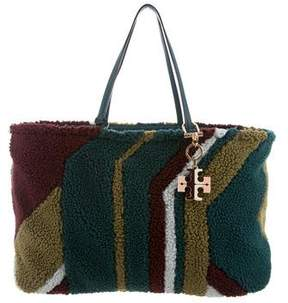 Tory Burch Britten Shearling Tote - GREEN - STYLE