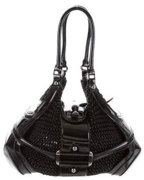 Alexander McQueen Leather-Trimmed Woven Shoulder Bag