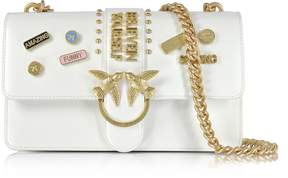 Pinko Love Pins White Eco Leather Shoulder Bag