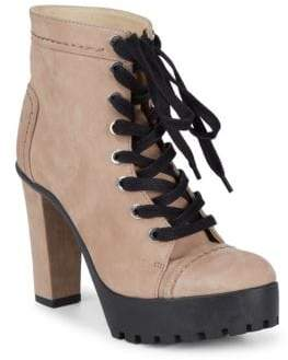 Schutz Aruna Block Heel Leather Lace-Up Booties
