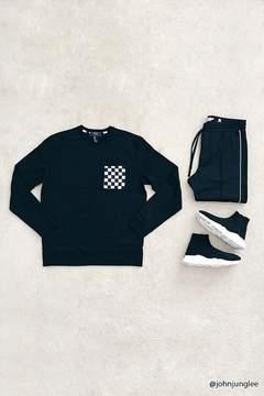 21men 21 MEN Checker Pocket Sweatshirt