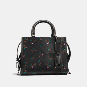 COACH ROGUE 25 IN GLOVETANNED LEATHER WITH CHERRY PRINT - BLACK COPPER/BLACK