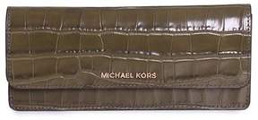 Michael Kors Money Pieces Crocodile-embossed Leather - Flat Wallet - Olive - 32F7GF6F2E-333 - OLIVE - STYLE