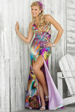 Blush Lingerie Multi-Color Printed Long Dress with Slit 9346