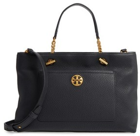 Tory Burch Chelsea Leather Satchel - Black - BLACK - STYLE