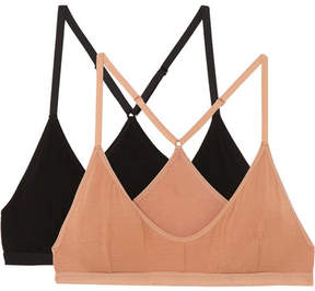 Base Range Baserange - Set Of Two Stretch-bamboo Soft-cup Triangle Bras - Neutral
