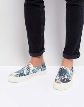 Asos Slip On Sneakers In Floral Hawaiian Print