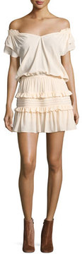 BA&SH Lini Off-the-Shoulder Tiered Ruffle Mini Dress, Nude
