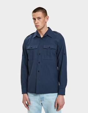 Dries Van Noten Twill Shirt in Navy
