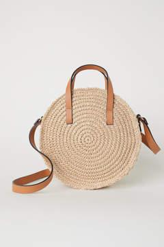 H&M Round Paper Straw Handbag - Beige