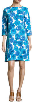 Joan Vass 3/4-Sleeve Floral-Print Shift Dress