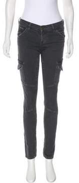 Current/Elliott Skinny Cargo Distressed Low-Rise Jeans