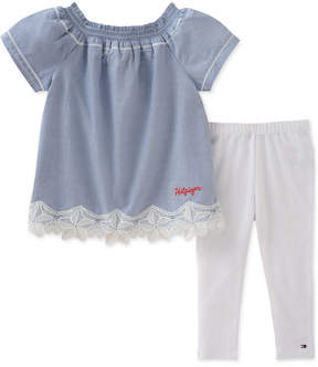 Tommy Hilfiger 2-Pc. Lace-Trim Top & Leggings Set, Little Girls