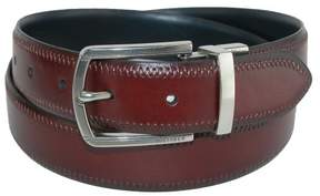 Tommy Hilfiger Men's Feather Edge Reversible Belt with Stitch, 34, Brown to Blue