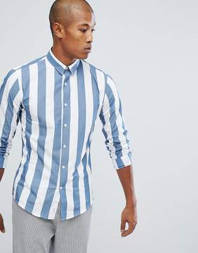 Lindbergh Wide Striped Shirt in Dusty Blue