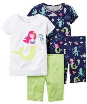 Carter's Baby Clothing Outfit Girls 4-Piece Snug Fit Cotton PJs Mermaid Print 9M