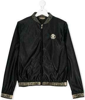 Roberto Cavalli logo embroidered bomber jacket