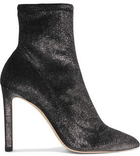 Jimmy Choo Louella 100 Metallic Stretch-velvet Sock Boots - Anthracite
