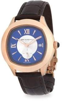 Bruno Magli Water Resistant Leather-Strap Watch