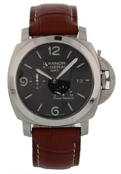 Panerai Luminor GMT PAM 321 Stainless Steel & Leather Automatic 42mm Mens Watch