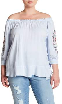 Democracy Embroidered Off-the-Shoulder Blouse (Plus Size)