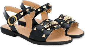 Moschino Kids studded scalloped sandals