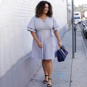 Boutique + + Elbow Sleeve Stripe Wrap Dress - Plus