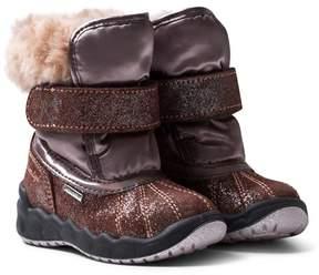 Primigi Pink and Bronze Glitter Faux Fur Gore-Tex Snow Boots