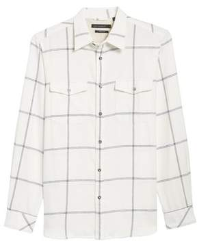 French Connection Regular Fit Windowpane Flannel Sport Shirt