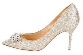 Marchesa Glitter Jewel-Embellished Pumps
