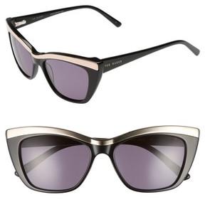Ted Baker Women's 54Mm Rectangle Cat Eye Sunglasses - Black