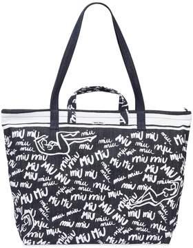 Miu Miu Printed Denim Tote Bag